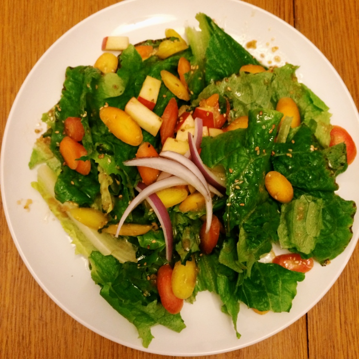 asian carrot romaine apple salad sesame ginger
