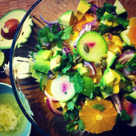 vegan mexican radish chopped salad