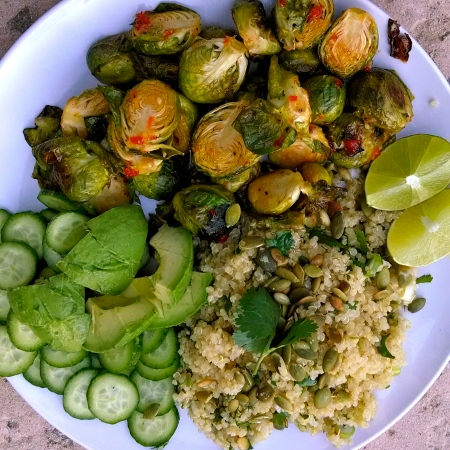 roasted brussels sprouts quinoa herb