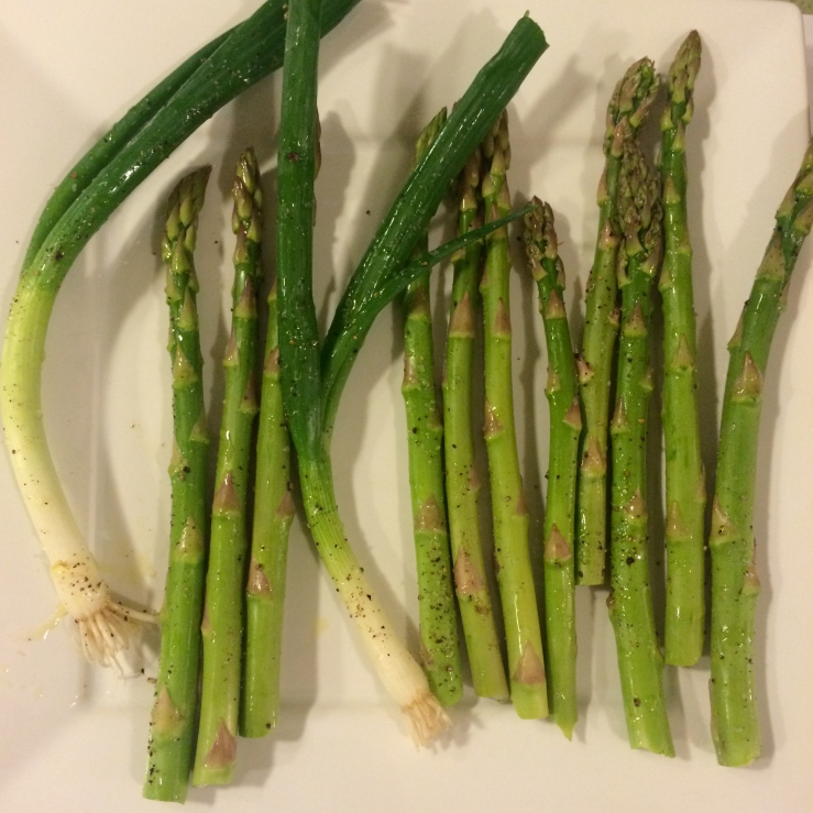 roasted oven asparagus green onion