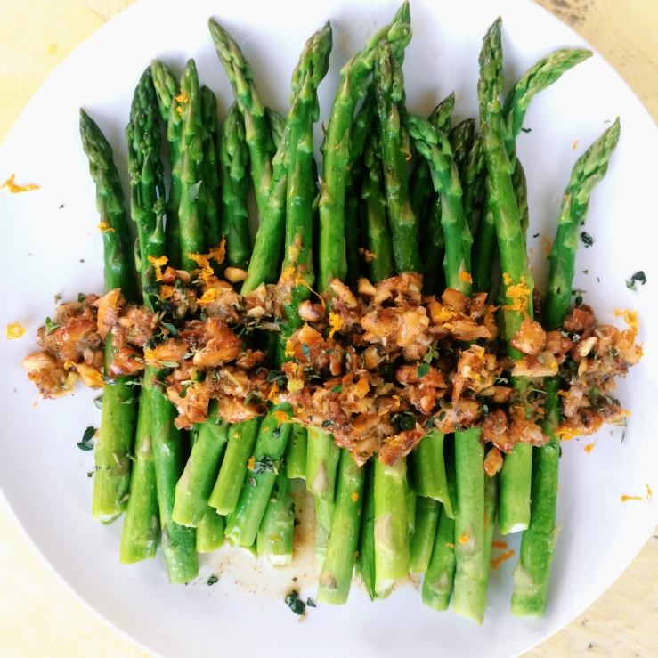 asparagus orange almond thyme roasted