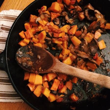 Butternut squash shiitake stir fry ragout