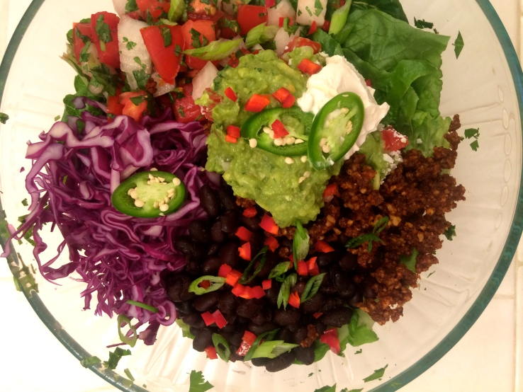 vegan taco salad walnut meat