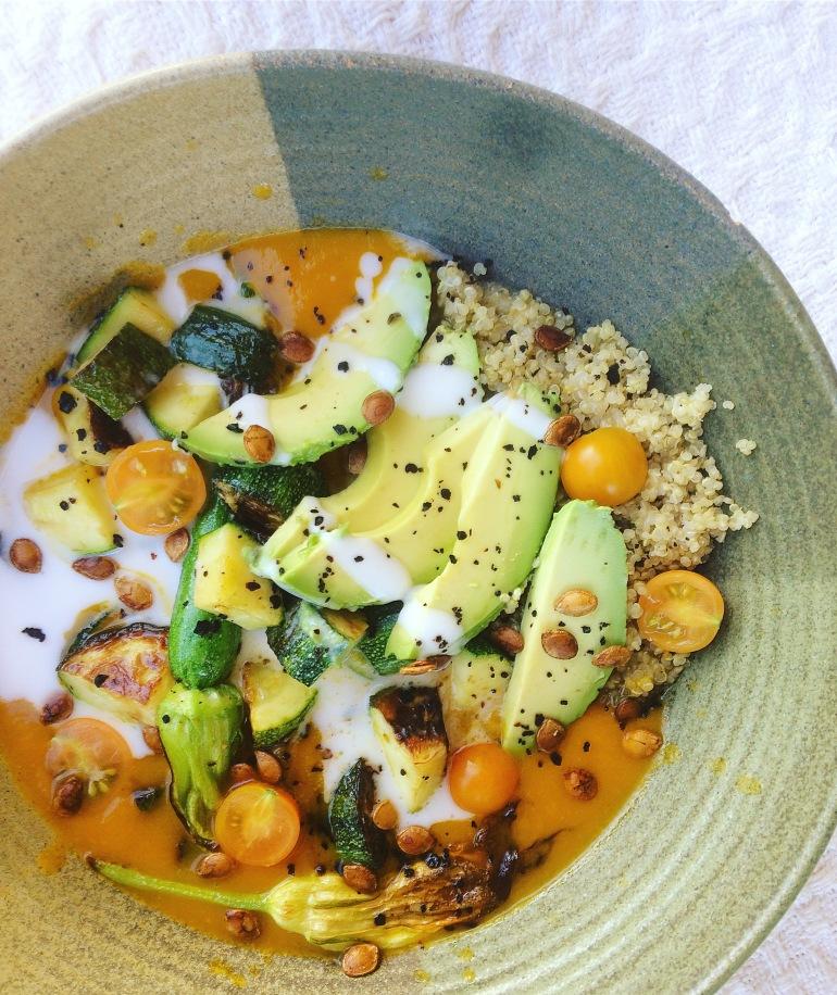 loaded carrot soup vegan quinoa