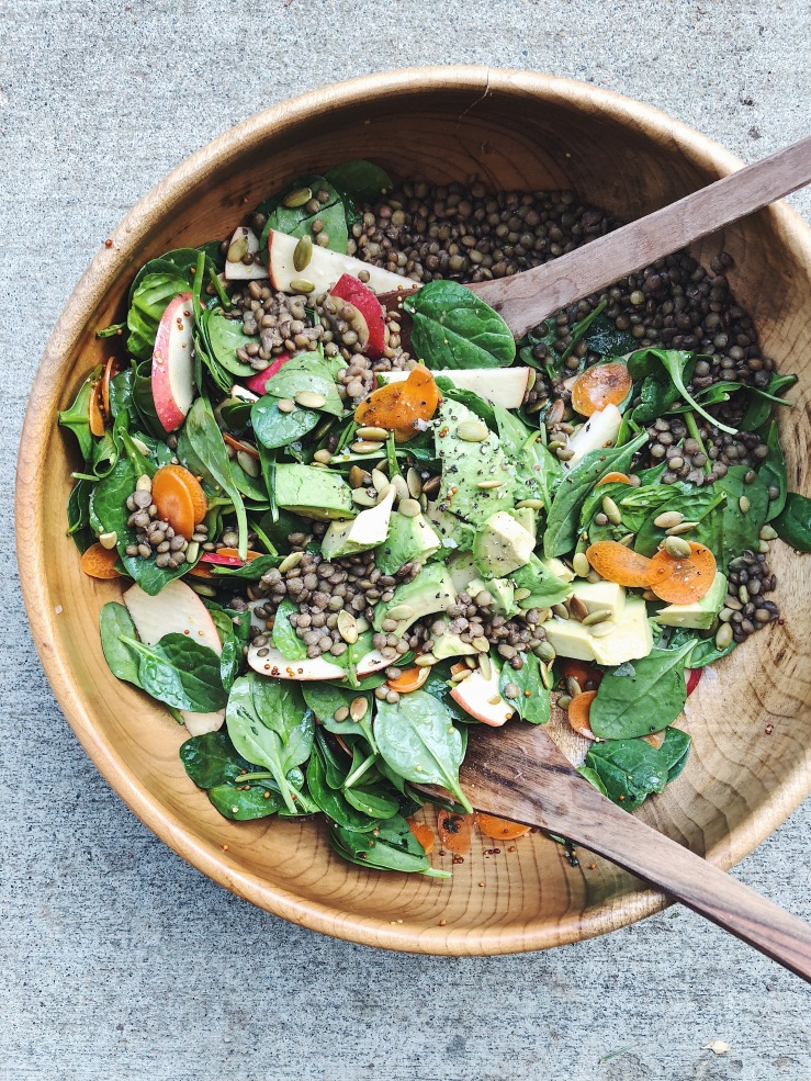 spinach carrot apple avocado lentil vegan salad