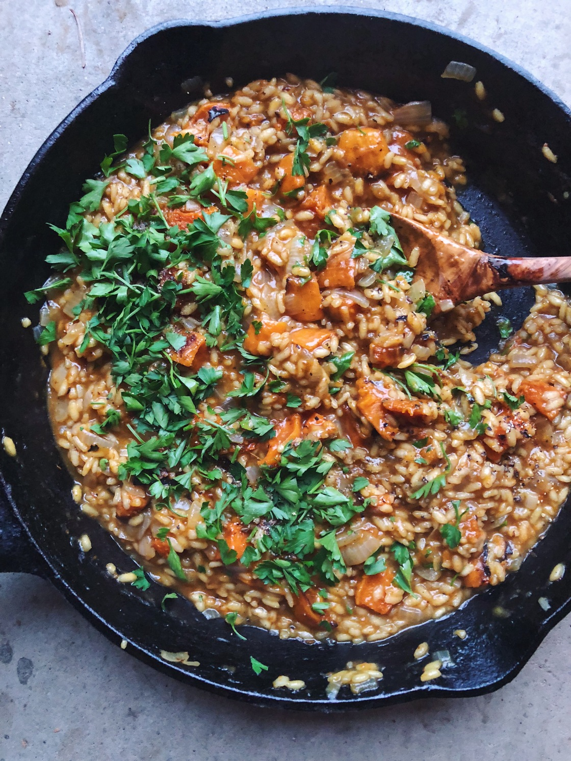 butternut risotto vegan parsley cast iron