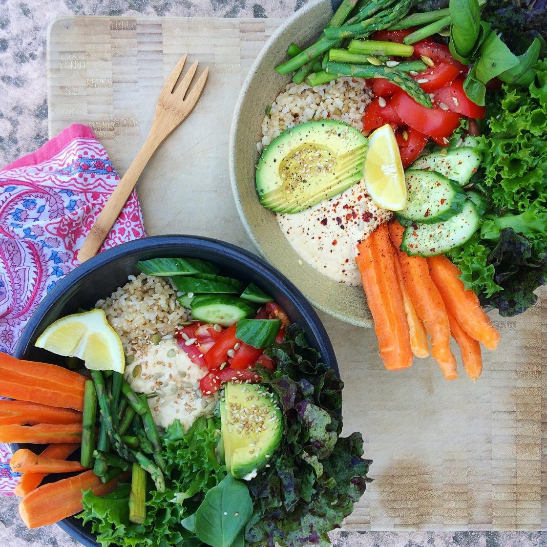 Vegan Buddha bowl hummus avocado gluten free