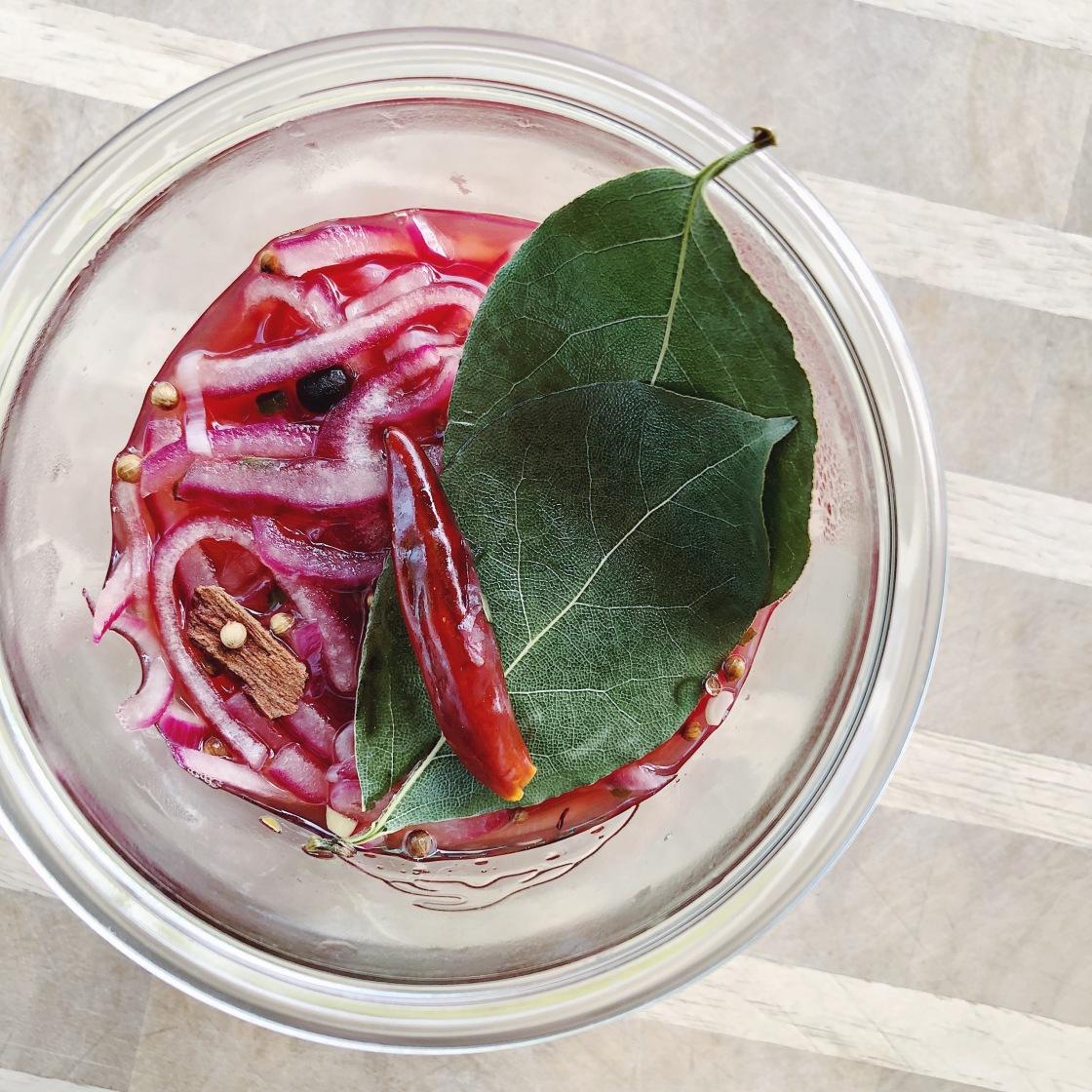 pickled red onions coriander vegan zero waste