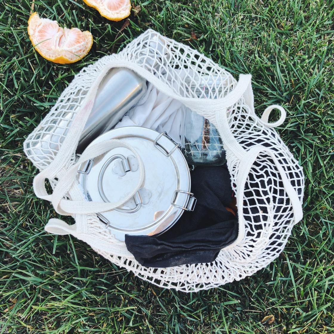 Eco bag net bag green sustainable zero waste family to go tiffin reusable trash