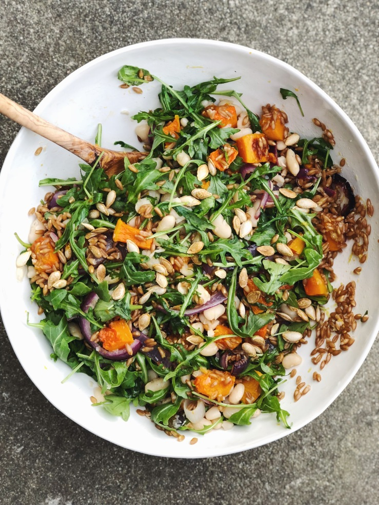 arugula squash dark red onion salad grain vegan bean