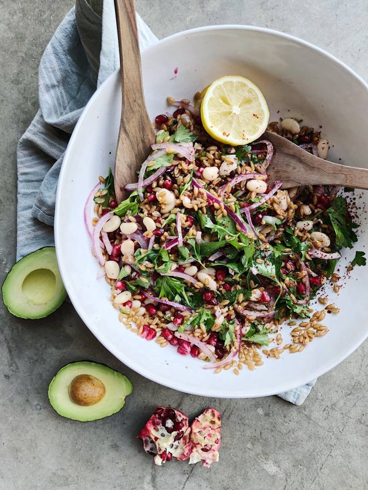 farro salad vegan pomegranate avocado parsley onion