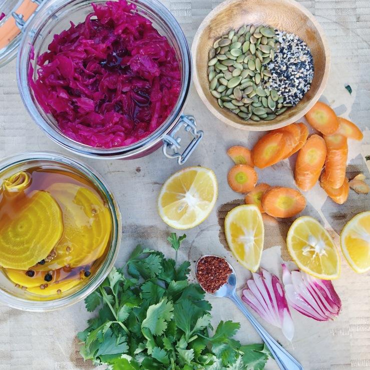 buddha bowl vegan kraut rainbow veggies gluten free