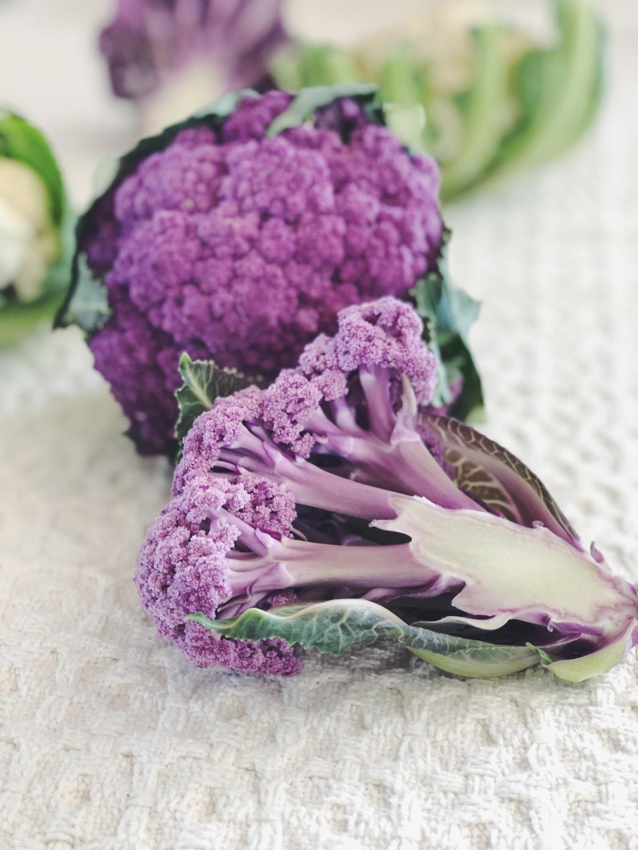Purple graffiti cauliflower vegan meal
