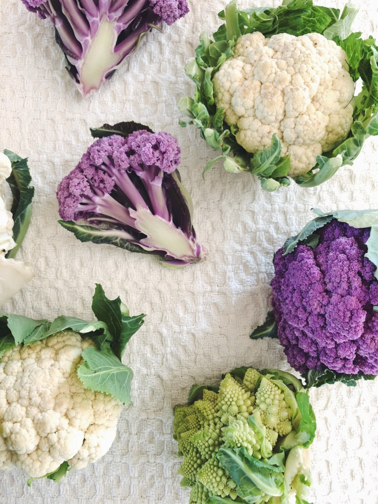 Purple romanesco cauliflower green vegan