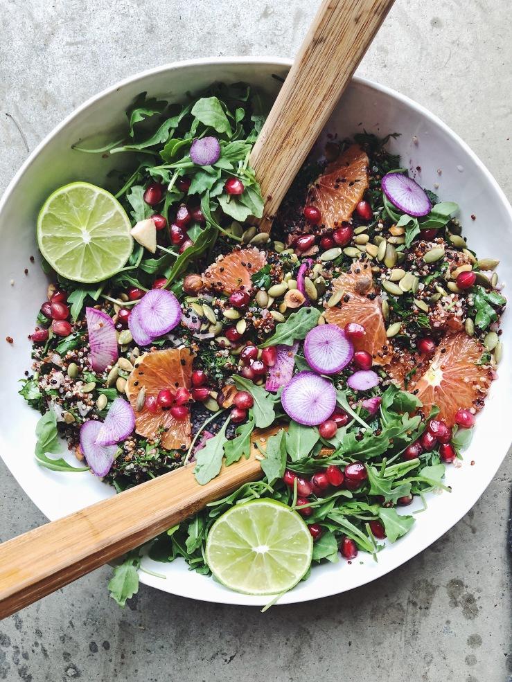 quinoa roasted beet salad arugala radish hazelnut grain