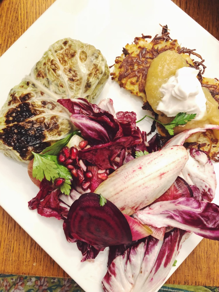 Christmas dinner vegan latkes gluten free radicchio winter
