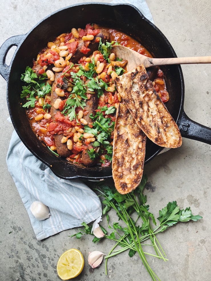 vegan Italian sausage white beans parsley garlic skillet