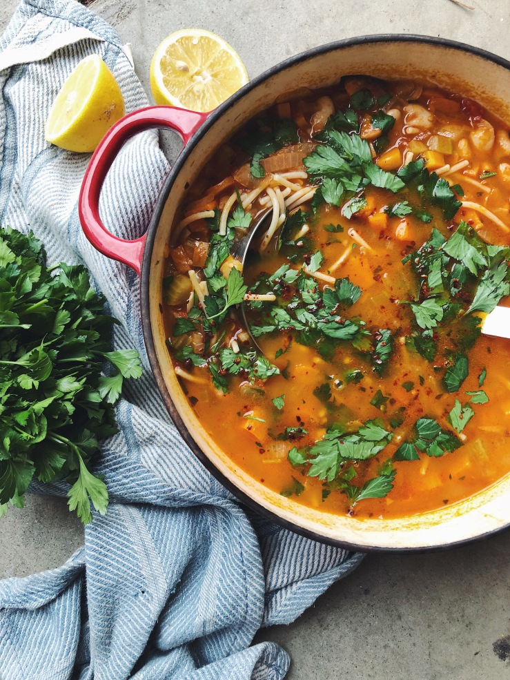winter vegan butternut squash pasta fagioli