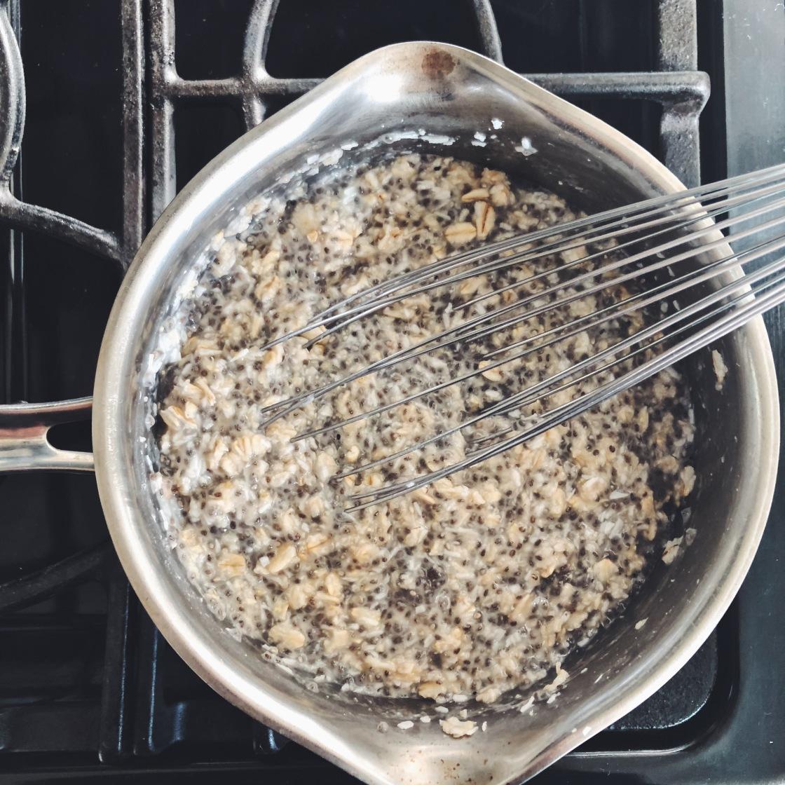 chia coconut flax hemp seeds oat porridge