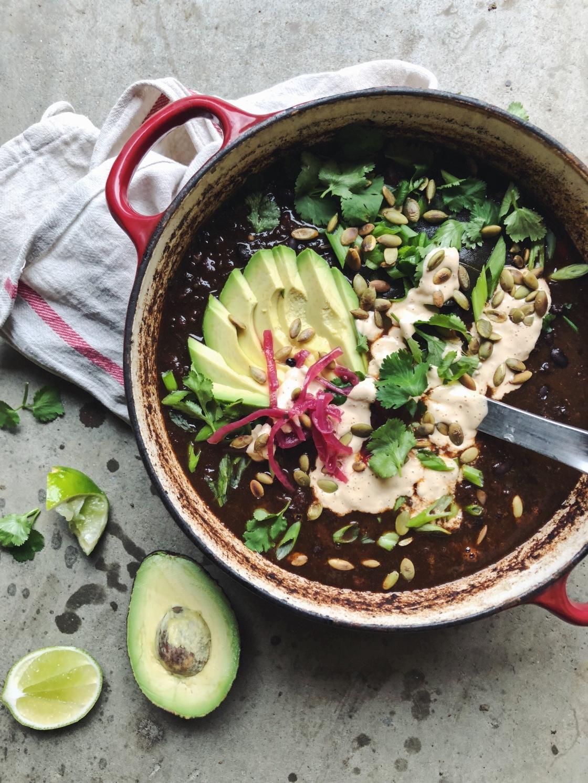 Black bean vegan chili kahlua lime mushroom chipotle