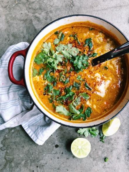 vegan curry Indian lentil split pea lime chili cilantro