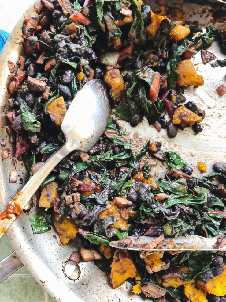 kabocha mushroom chard enchiladas