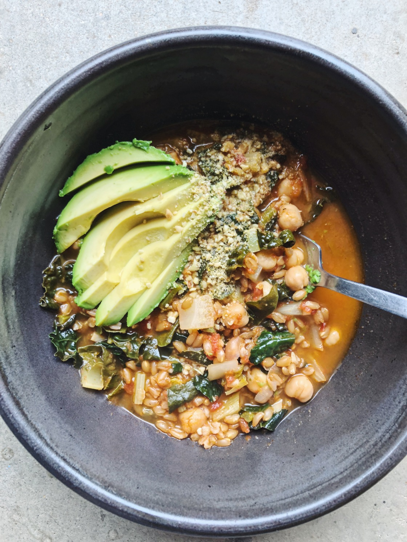 chickpea farro soup kale