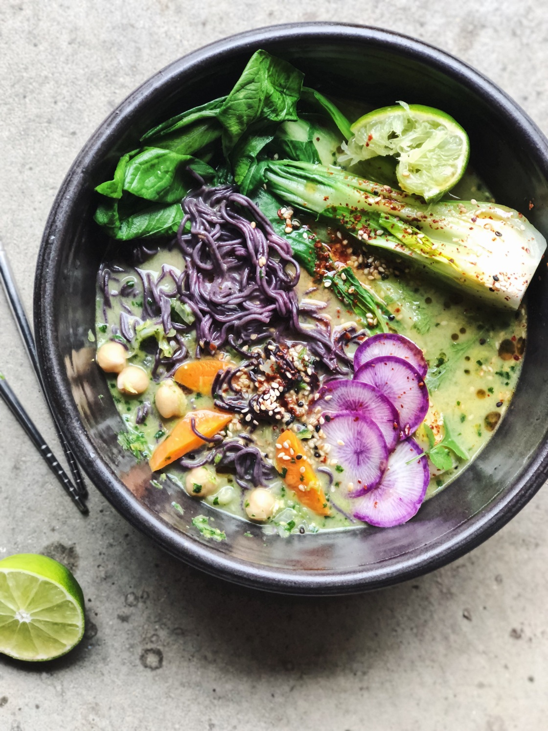green Miso chickpea herb noodle soup