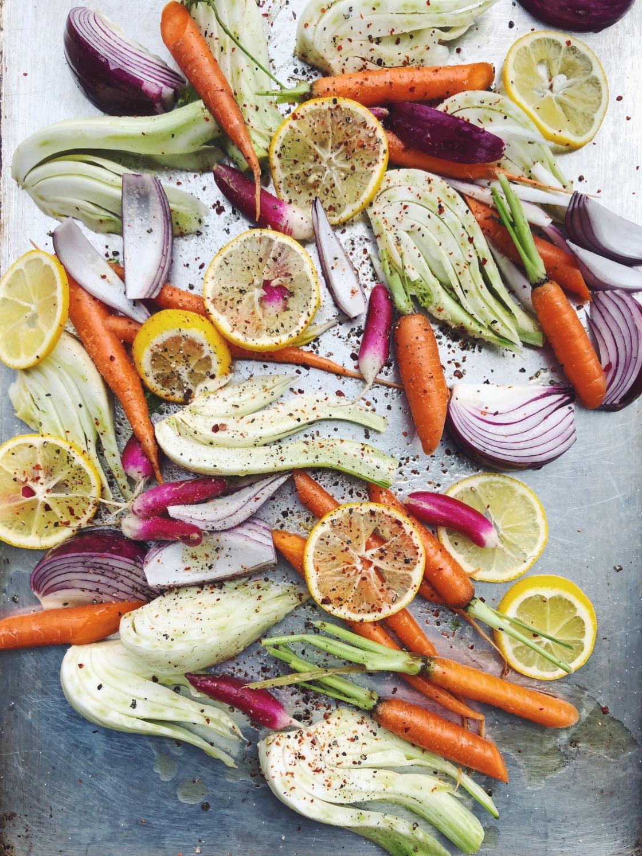 mixed roasted rainbow vegetables fennel chili flakes Meyer lemon