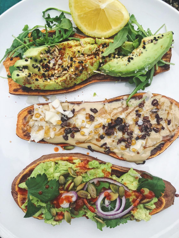 sweet potato vegan toast avocado tahini