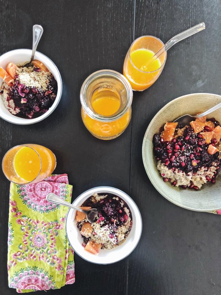 vegan kid porridge berries tangerine juice omega chia