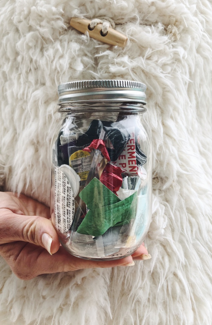vegan zero waste trash jar