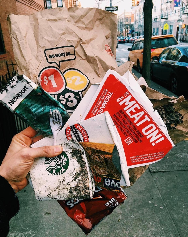 Picking up trash New York City zero waste