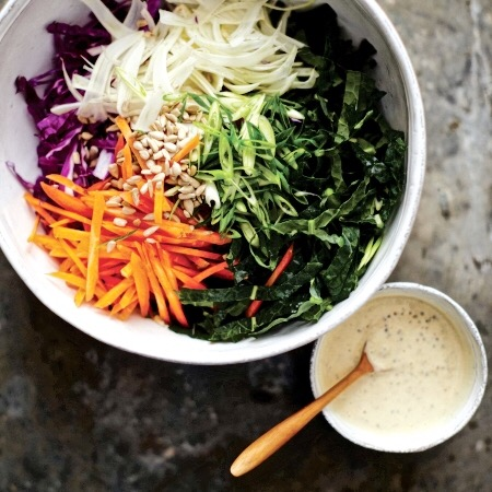 Kale slaw fennel cabbage cashew mustard Amy chaplin
