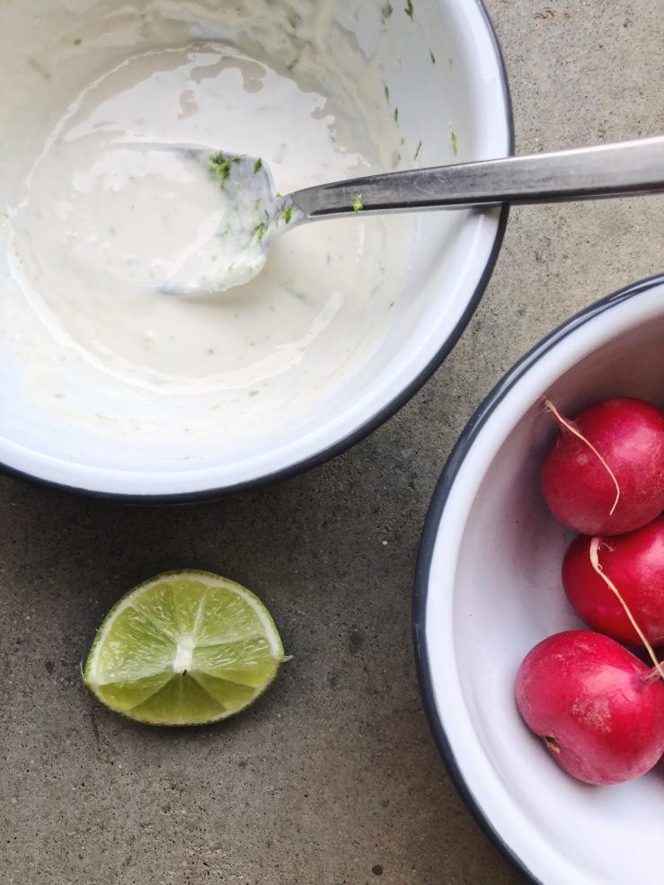 Vegan crema coconut yogurt lime radish