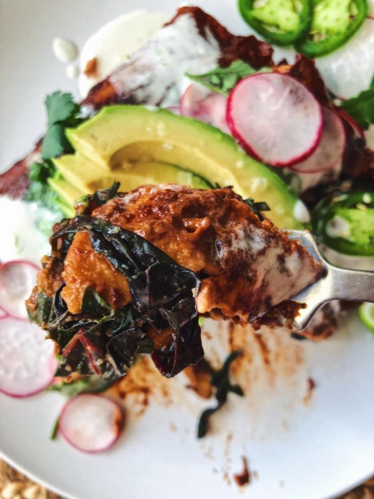 Vegan enchiladas chard radish avocado
