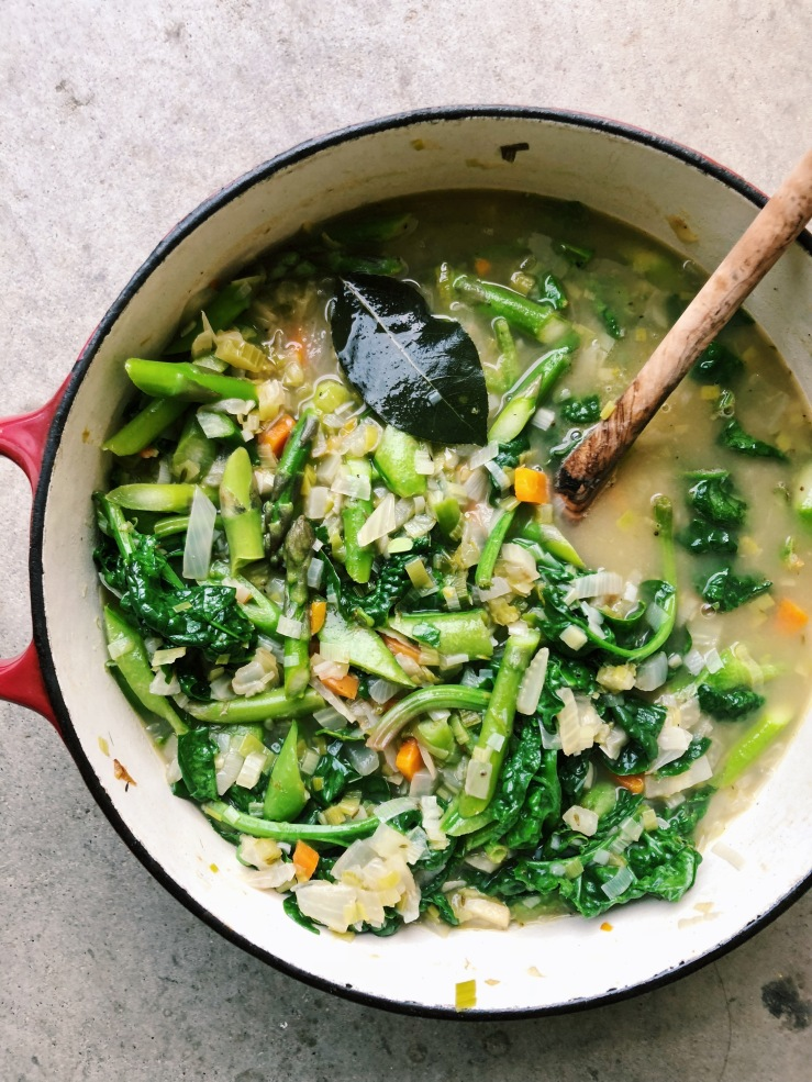 spring Soup minestrone asparagus spinach