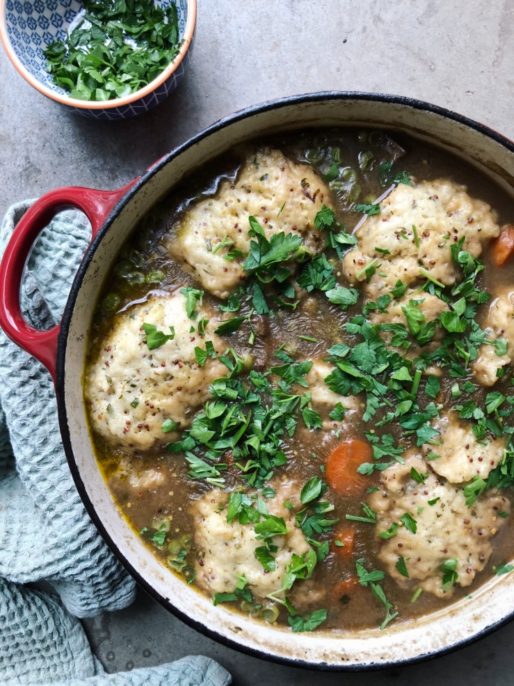 mushroom Stew dumplings soup river cottage vegan