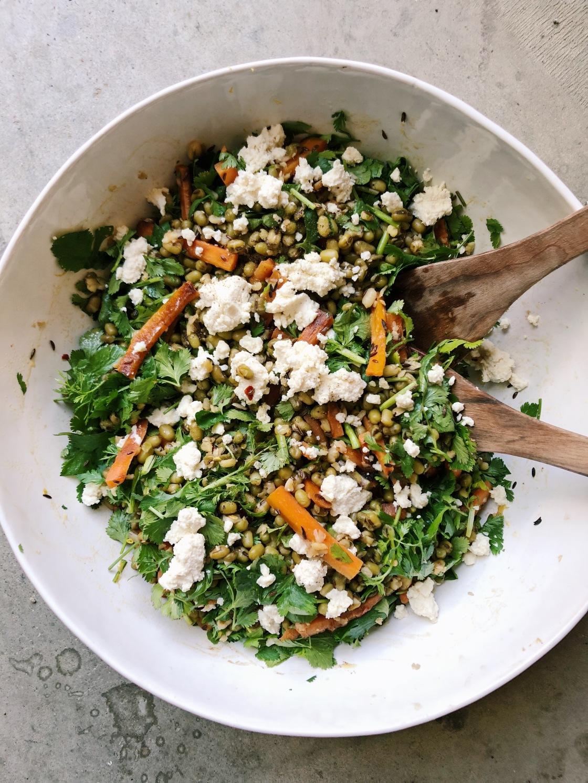 mung Bean carrot salad vegan feta ottolenghi