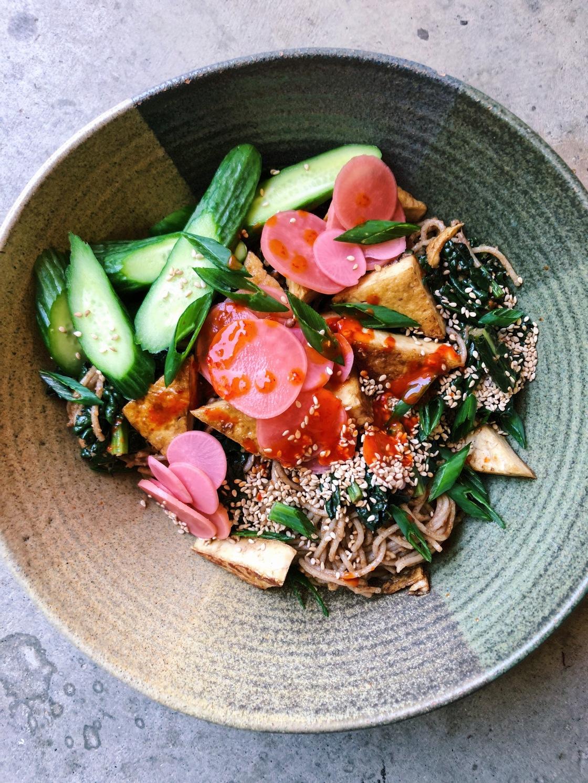Peanut noodle bowl vegan kale radish sesame cucumber
