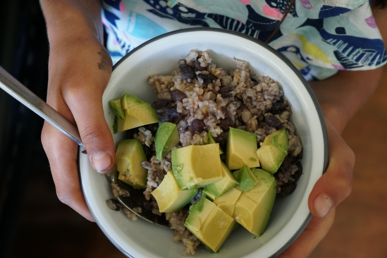 rice and beans avocado