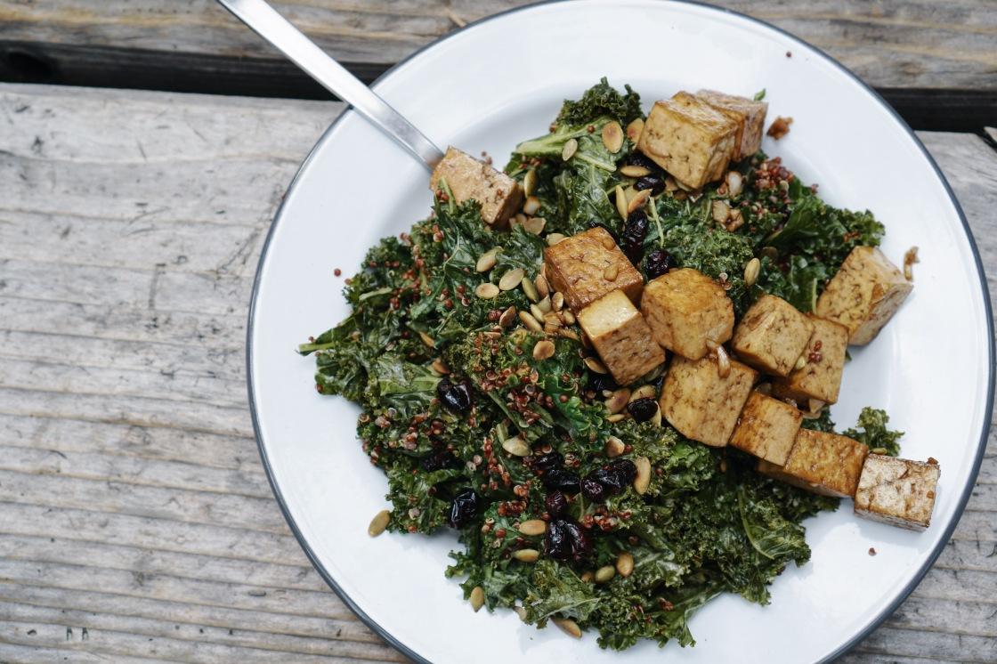 vegan kale salad camping zero waste