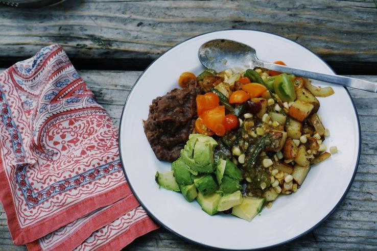 potato camping vegan