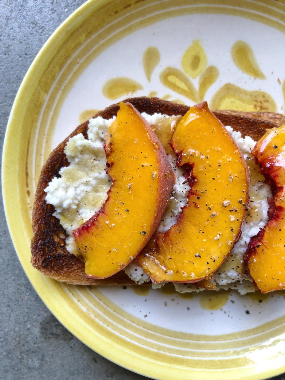 peach ricotta toast vegan