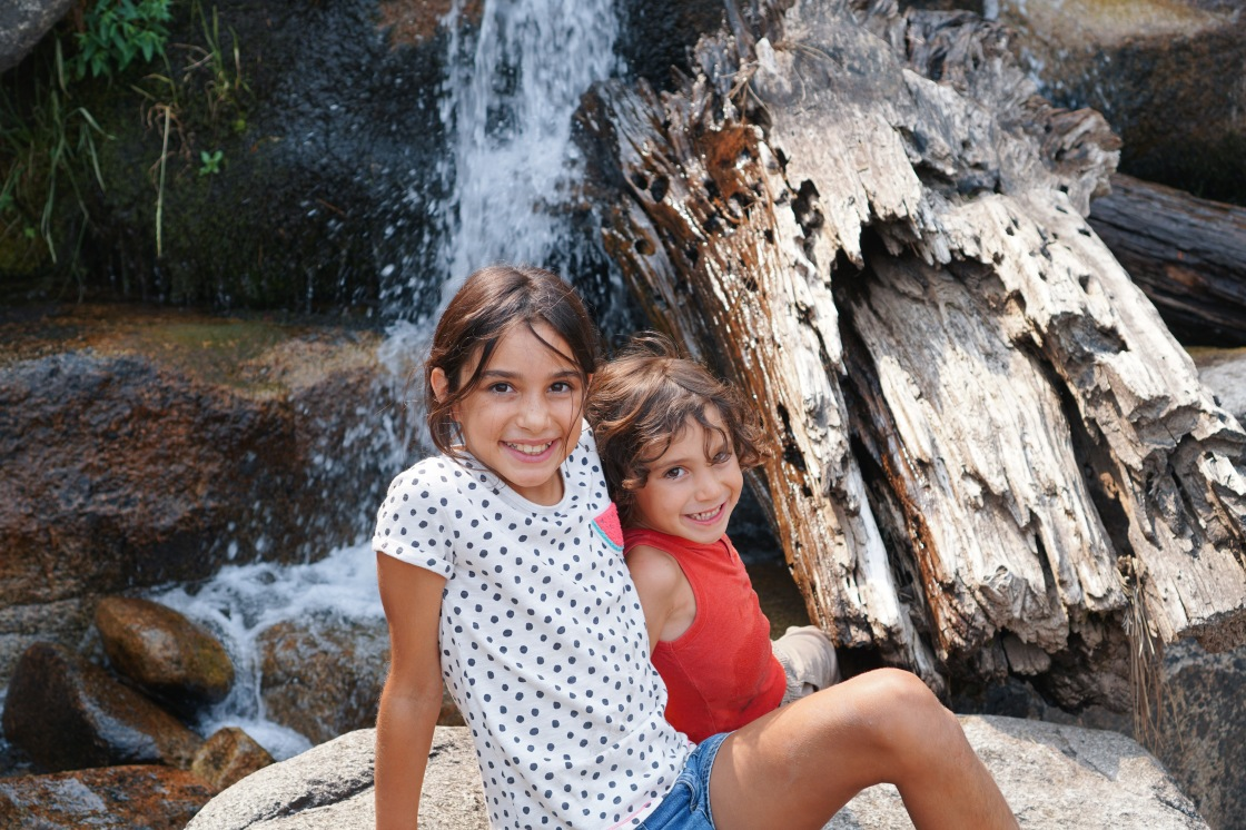 camping kids waterfall grover hot springs