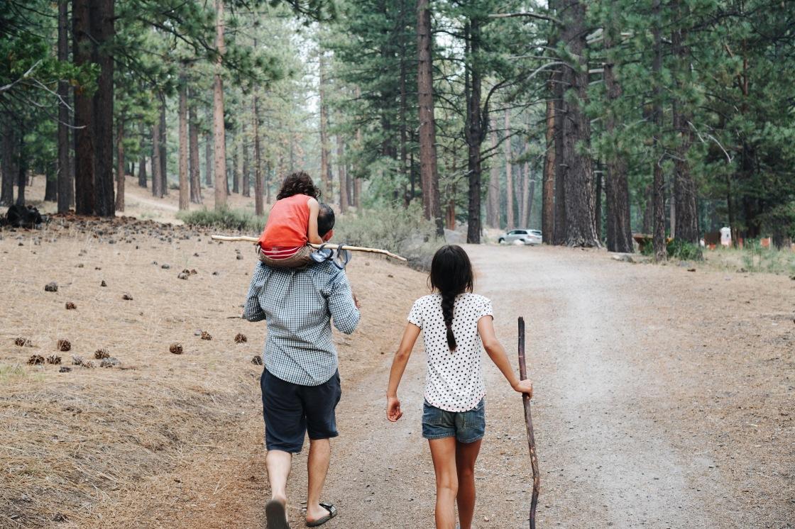 hiking kids vegan camping
