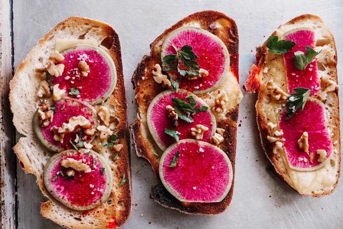 radish tartine toast cheese